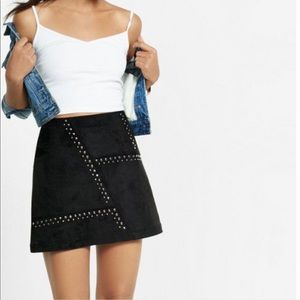 Express Faux Suede Studded Mini Skirt
